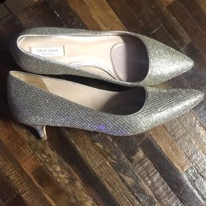 Gold with silver Cole Haan kitten heels